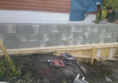 Ferdig grunn mur for stua utvidelse