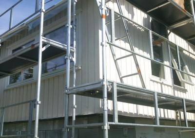 Gammle og ny vegg til stua med vinduer
